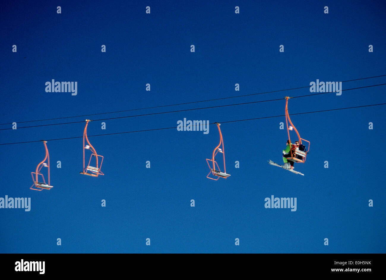 Chairlift at a ski resort - Stock Image