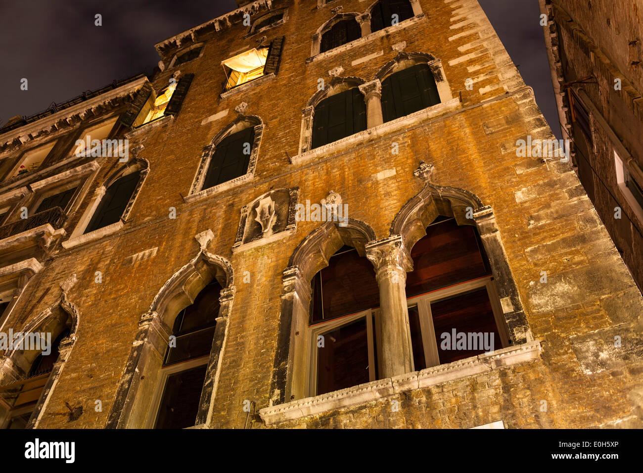 House facade, Venice at night, Venetia, Italy, Europe - Stock Image