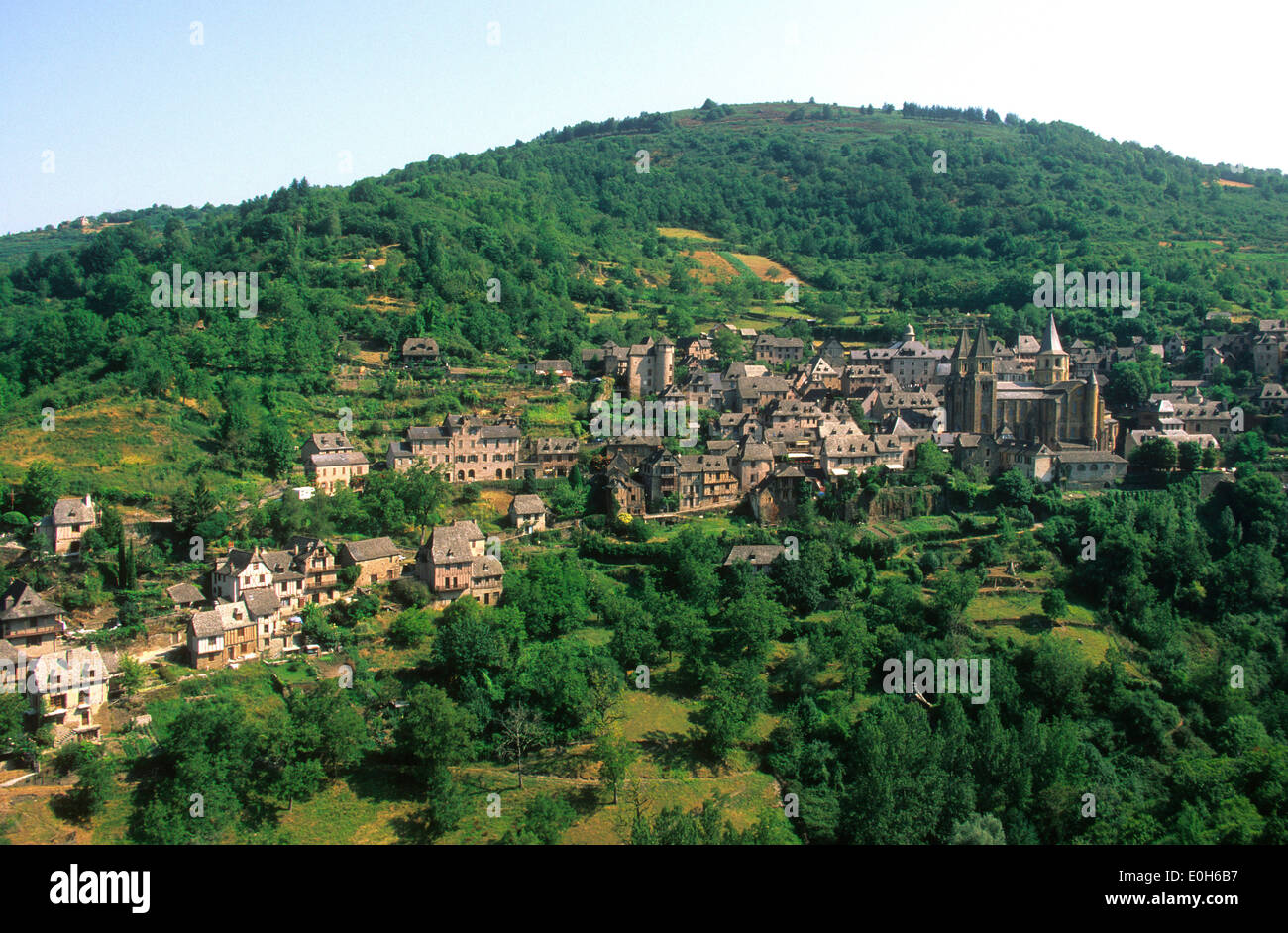 Conques village in Aveyron, France - Stock Image