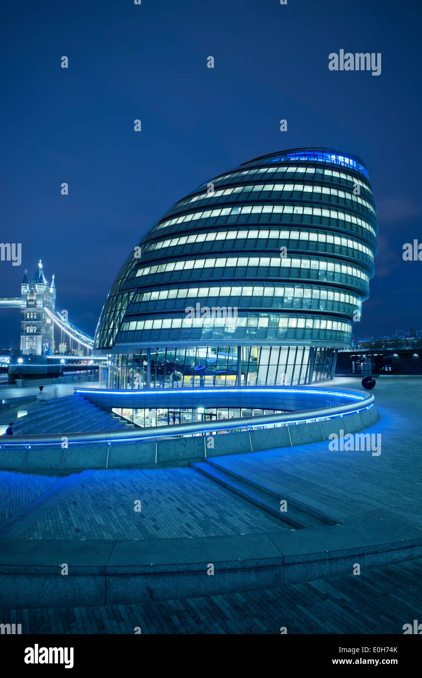 City Hall by Sir Norman Foster and Tower Bridge at night, City of London, England, United Kingdom, Europe Stock Photo