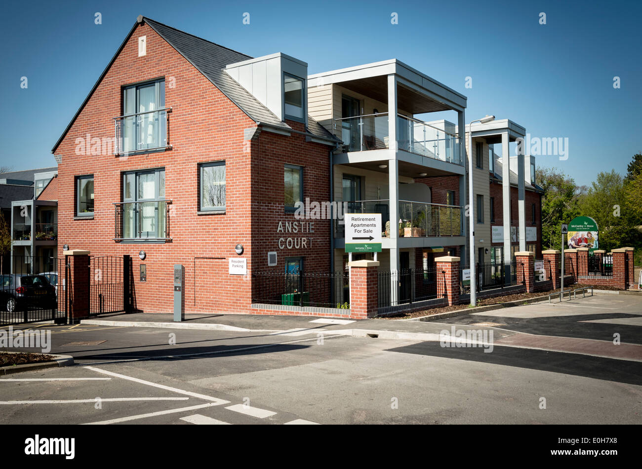 New development in Devizes of a retirement block of apartments for the elderly - Stock Image
