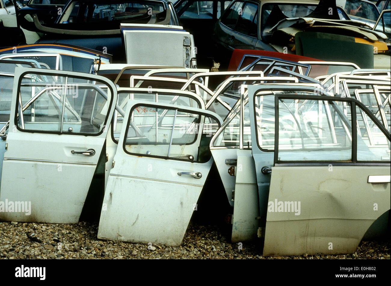 Old car doors at a scrap metal yard Stock Photo