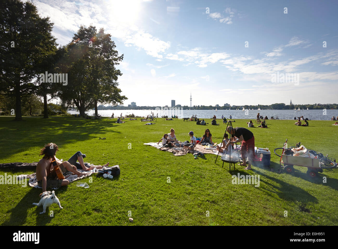 Barbeque on the Schwanenwik lawn, Alsterpark, east bank of the Outer Alster Lake, Aussenalster, Hamburg, Germany - Stock Image
