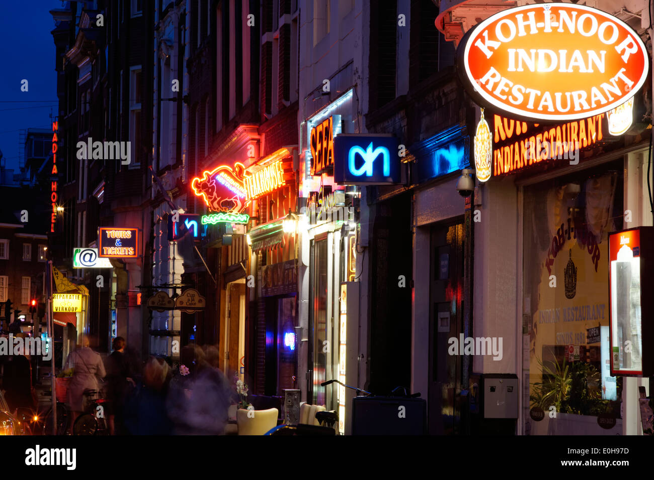 Nighttime in Amsterdam, Holland - Stock Image