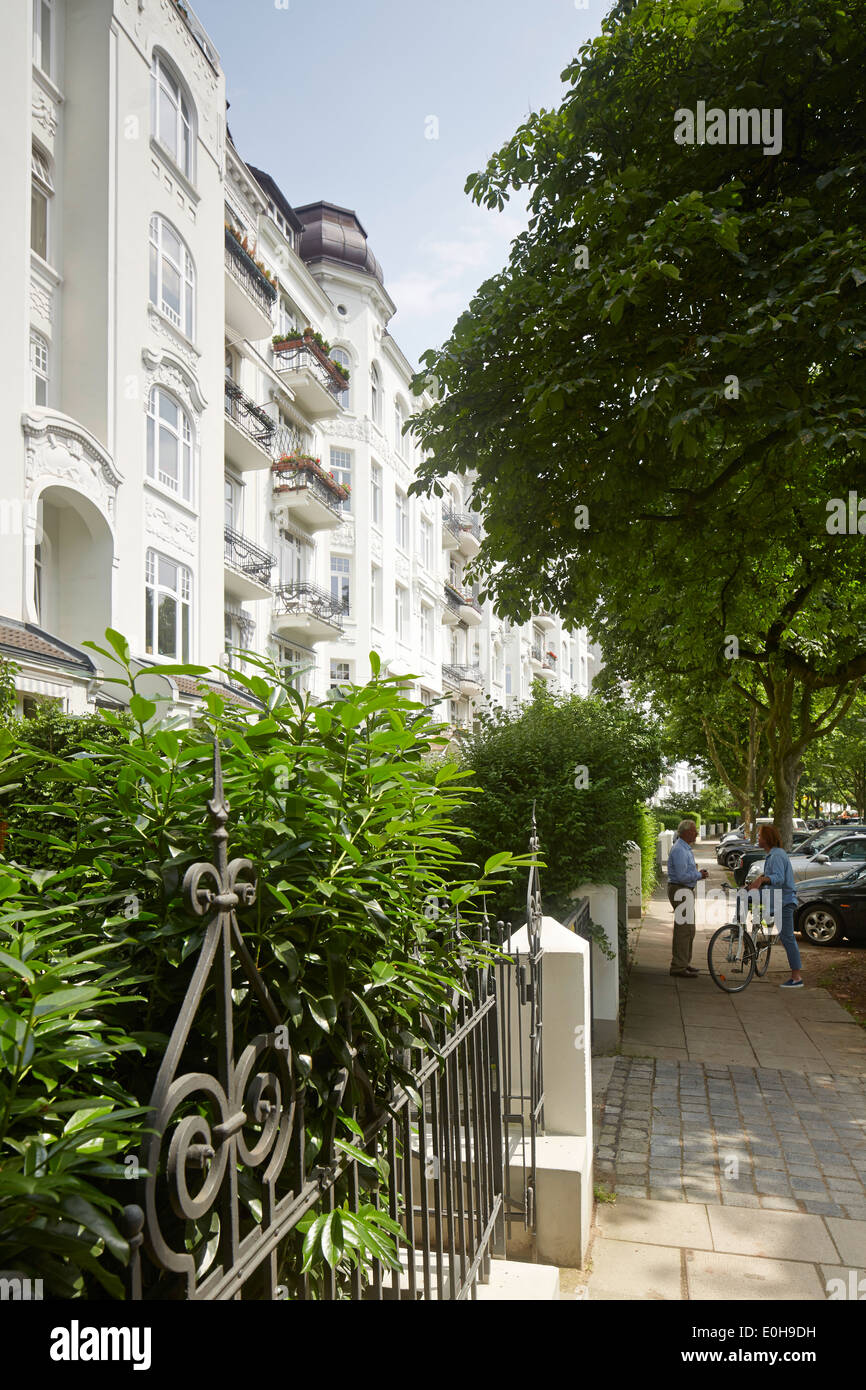 Houses in Isestrasse from number 111 upwards, Eppendorf, Hamburg, Germany - Stock Image