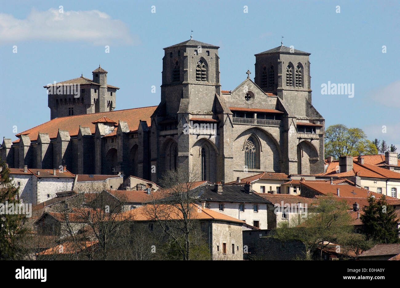 Abbey of La Chaise Dieu and its village, Haute Loire, Auvergne, France, Europe - Stock Image