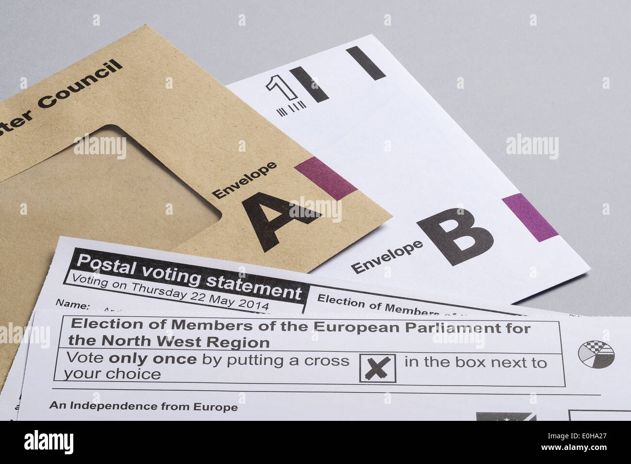 Postal Voting for the European Elections in May 2014 - Stock Image