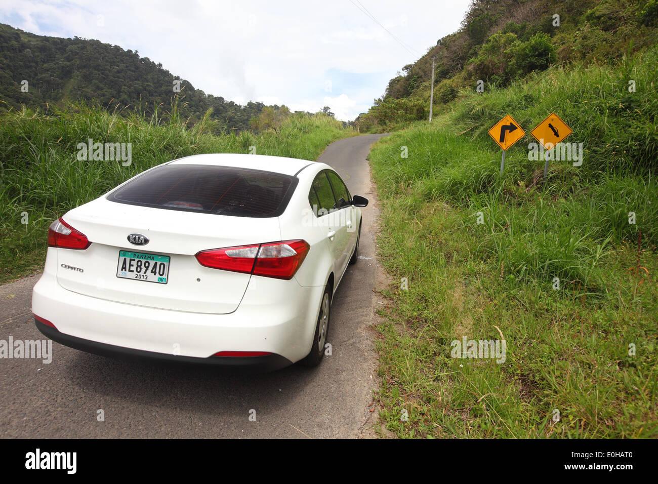 Chiriqui, Bajo Boquete, Boquete, driving along road 17 with rental car, Parque Nacional Volcan Baru, Panama Stock Photo