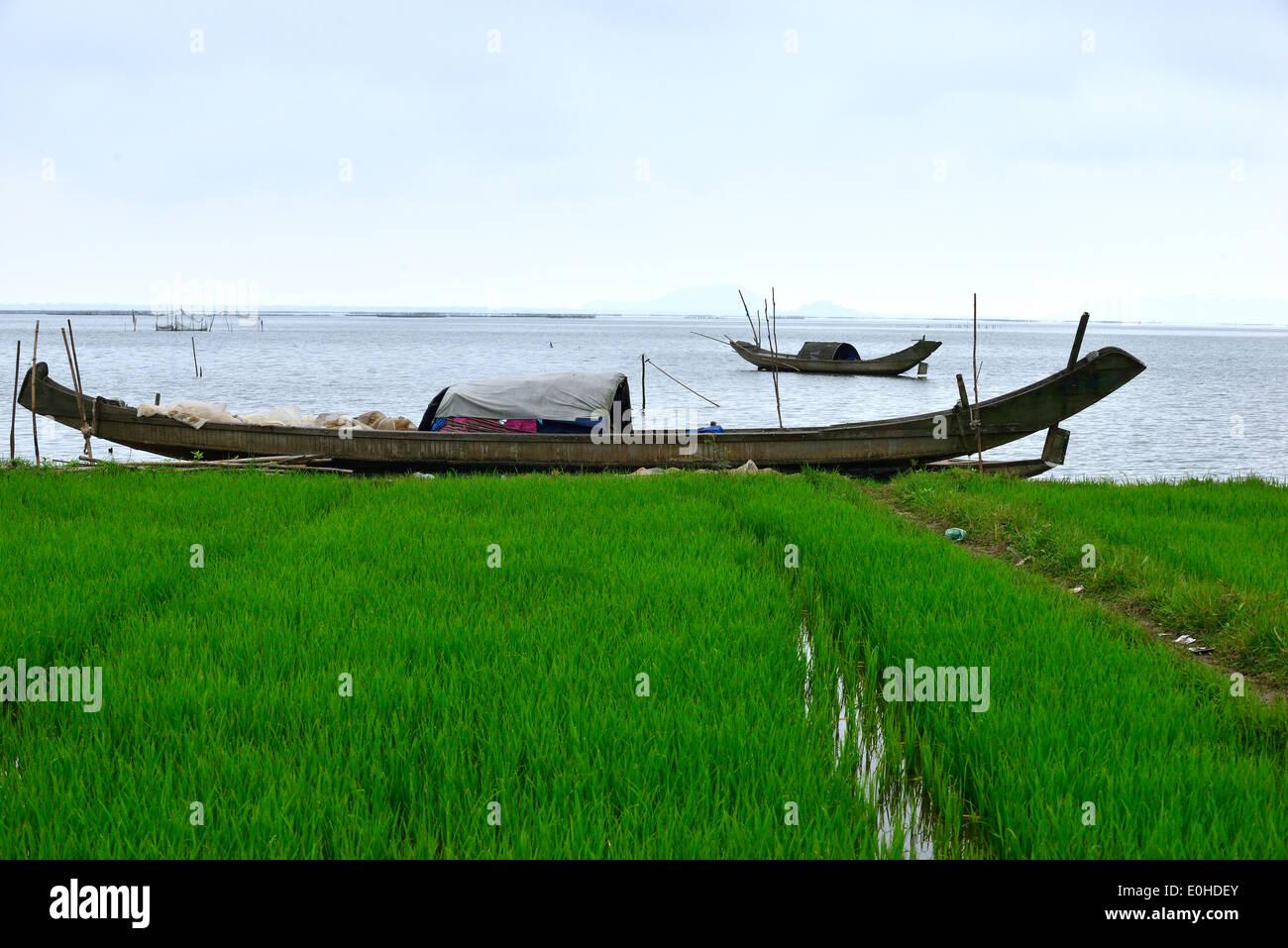 Fishing sampans on the shore of the North China Sea inbetween Hue and Da Nang,North Vietnam - Stock Image
