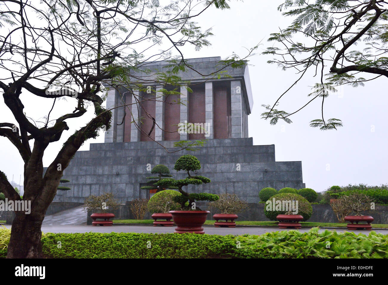 Side view of Ho Chi Minh Mausoleum -the historic place where Respected Uncle Ho lies in state. Stock Photo