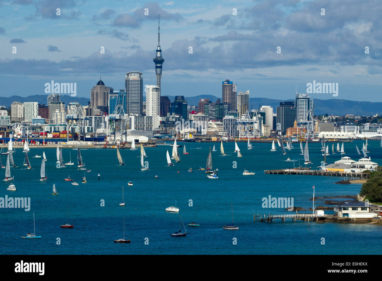 The annual Coastal Classic Yacht Race departs for the Bay of Islands, Auckland, New Zealand, Friday, October 25, 2013. - Stock Image
