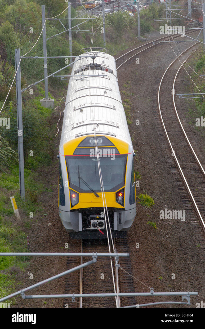 The new Auckland Transport Electric Train on its first day of operation, Remuera, Auckland, New Zealand Stock Photo
