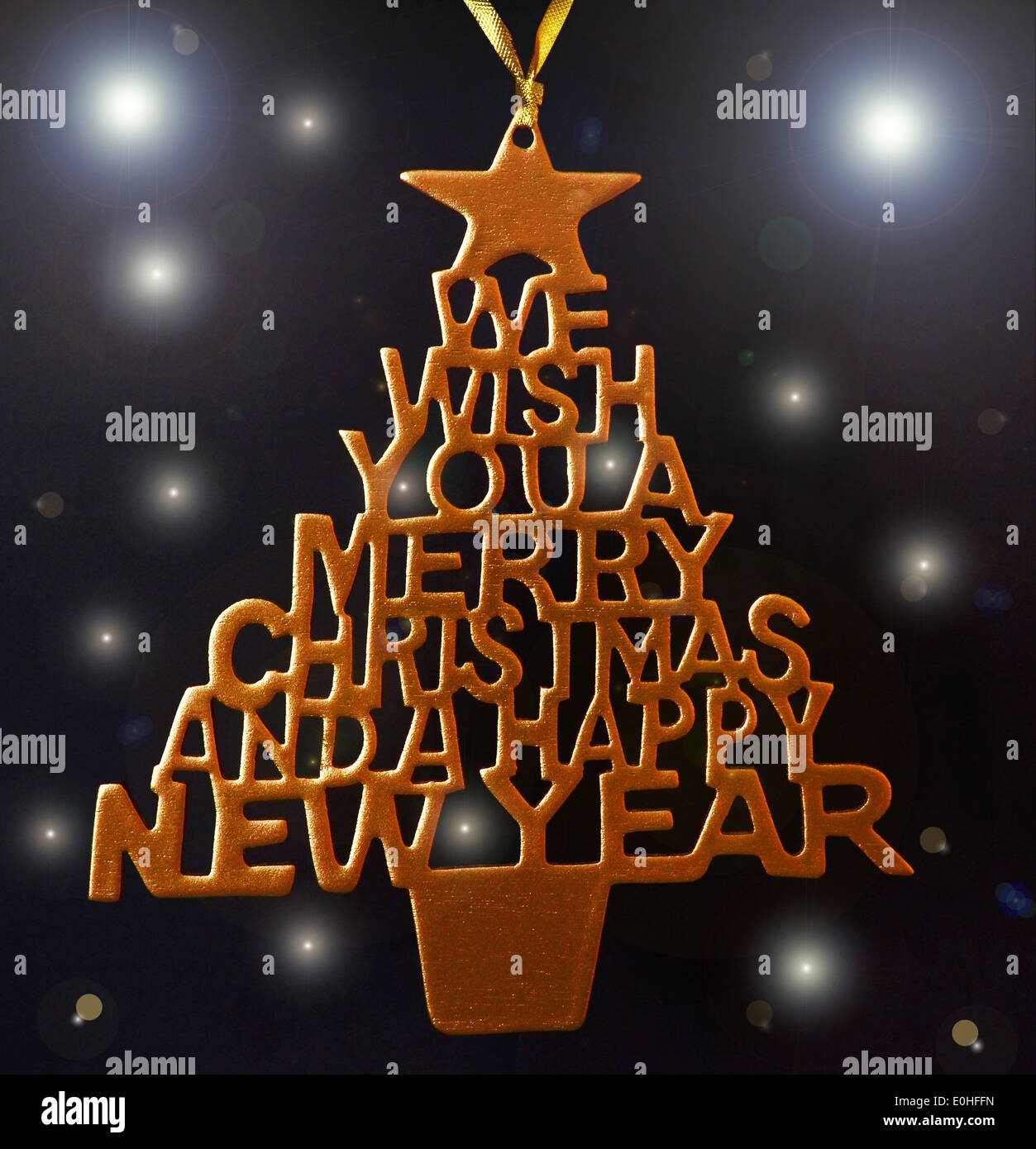 we wish you a merry christmas and a happy new year tree hand fretted christmas decoration spray painted gold