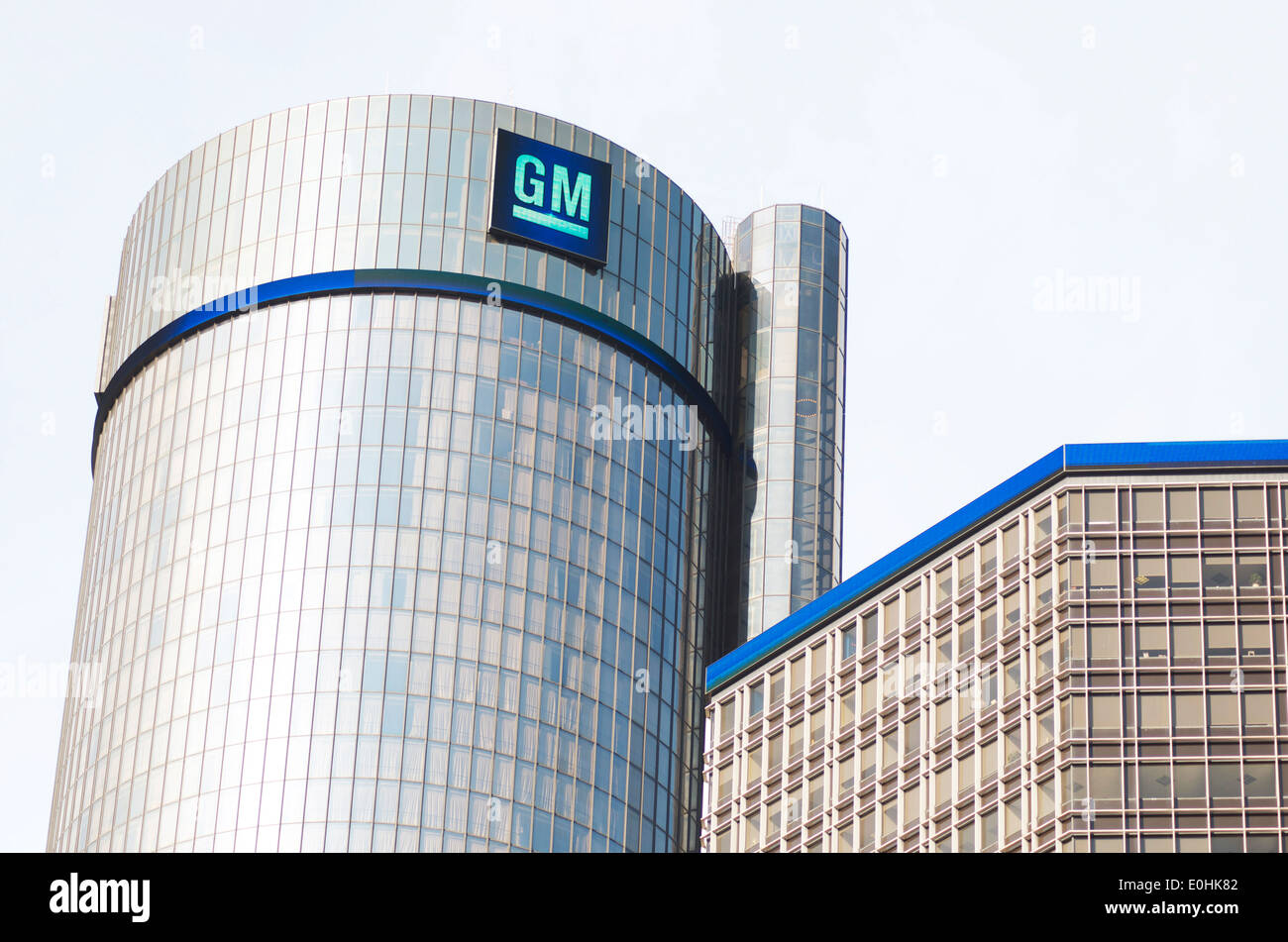 General Motors emblem on the G.M. building in downtown Detroit, part of the Renaissance Center. - Stock Image