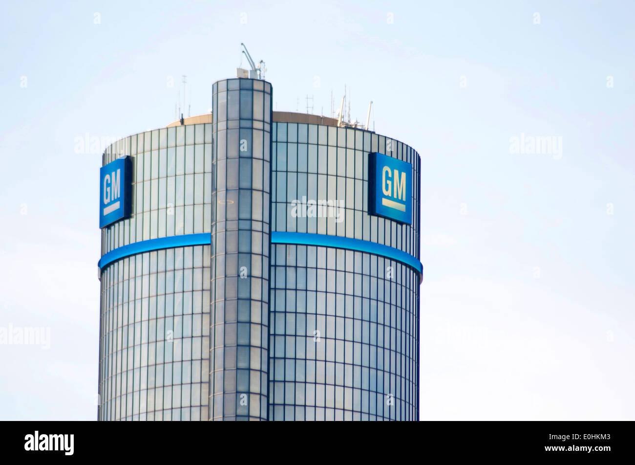 G.M. Logo on Headquarters - Stock Image