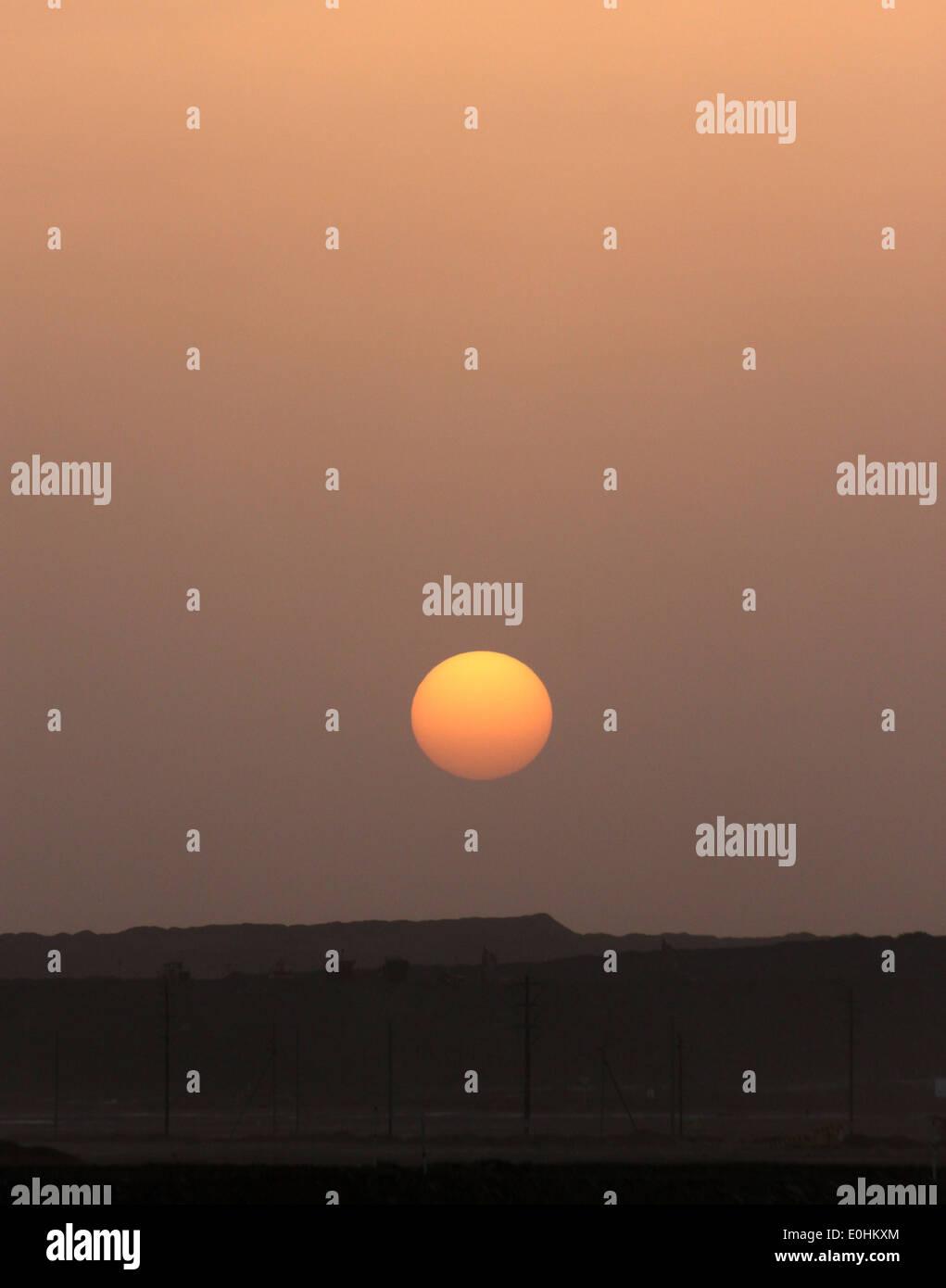 Sunset in the Tasiast gold mine, Sahara, Mauritania, Africa - Stock Image