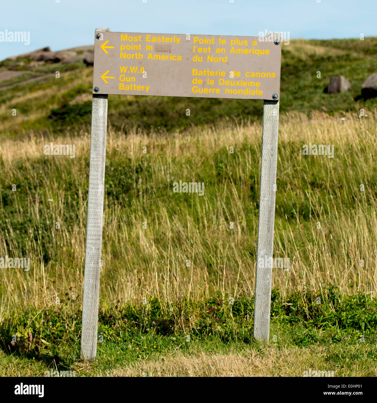 Signboard at Cape Spear, St. John's, Newfoundland And Labrador, Canada - Stock Image