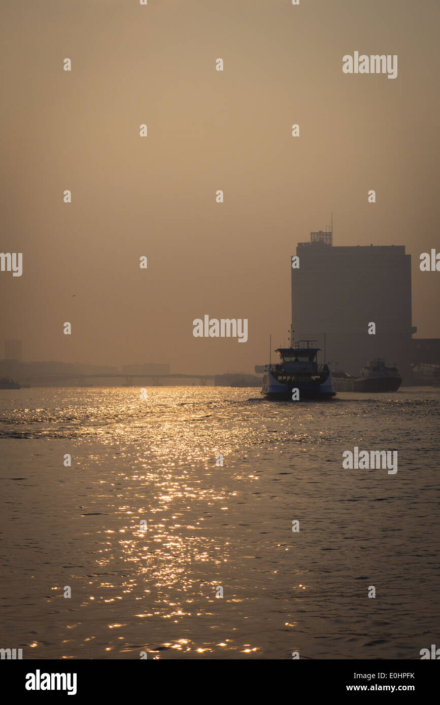 The ferry across the IJ River to Amsterdam North Noord - Stock Image