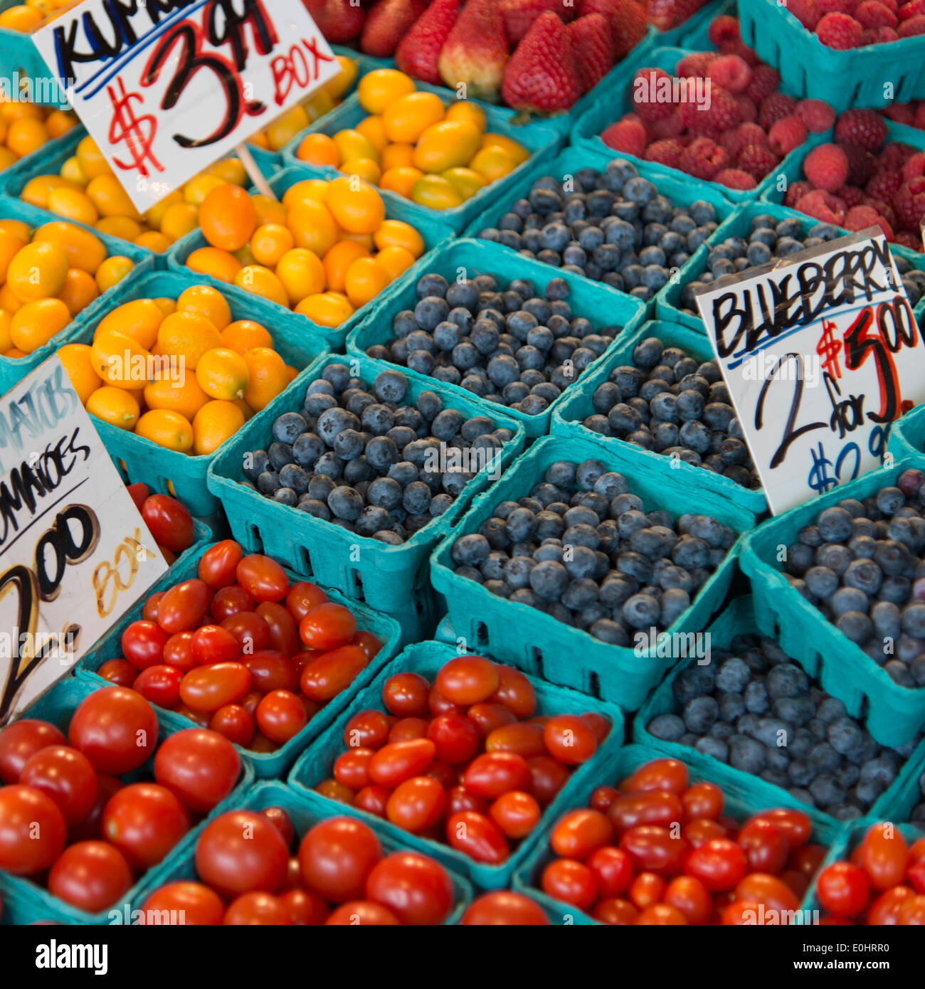 Fruits and vegetables for sale at a market stall, Pike Place Market, Seattle, Washington State, USA - Stock Image