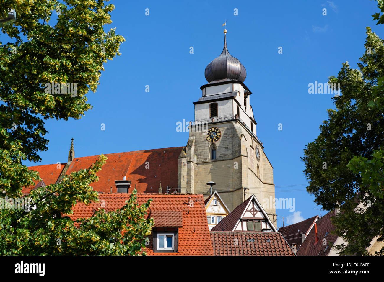 Germany, collegiate church, houses, gable, Deutschland, Baden-Württemberg, Herrenberg, Stiftskirche, Häuser, Giebel - Stock Image