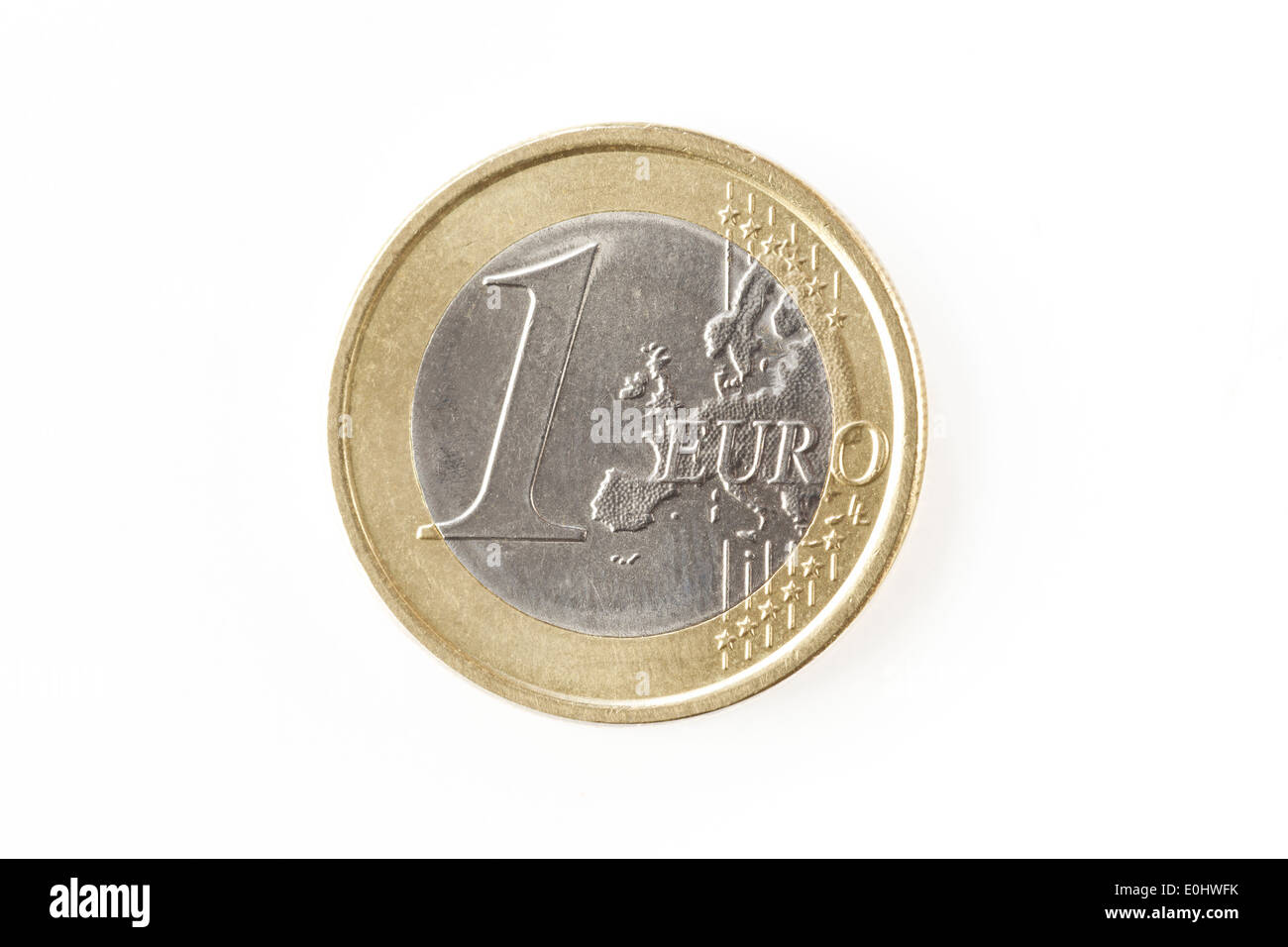 One euro coin isolated on a white background - Stock Image