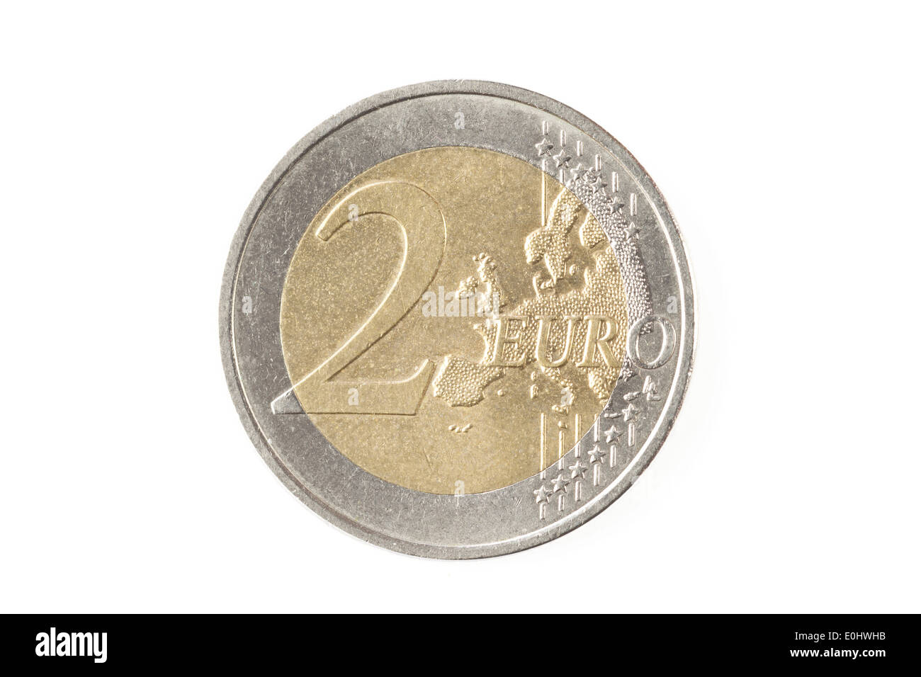 Two euro coin isolated on a white background - Stock Image