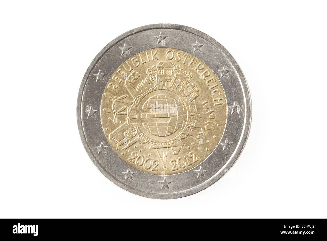 Back of an austrian two euro coin isolated on a white background - Stock Image