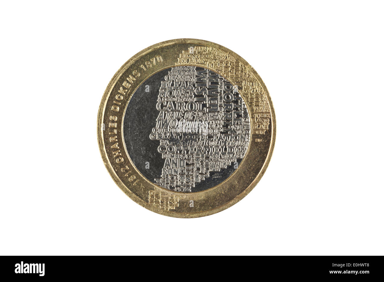 A special edition two pound coin marking the 200th anniversary of the birth of Charles Dickens - Stock Image