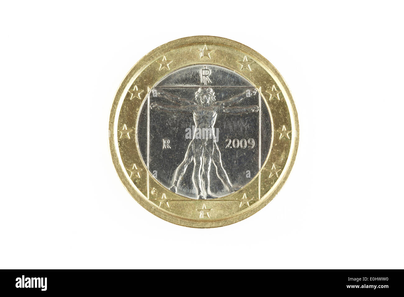 Italian one euro coin isolated on a white background - Stock Image
