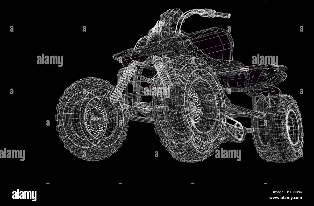 Quad bike, motorcycle, 3D model body structure, wire model Stock ...