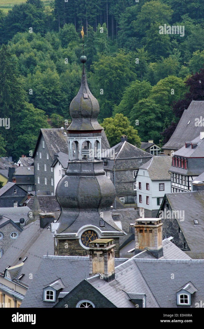 Germany, Monschau, City, viewpoint, Deutschland, Monschau, Stadt, Aussichtspunkt - Stock Image