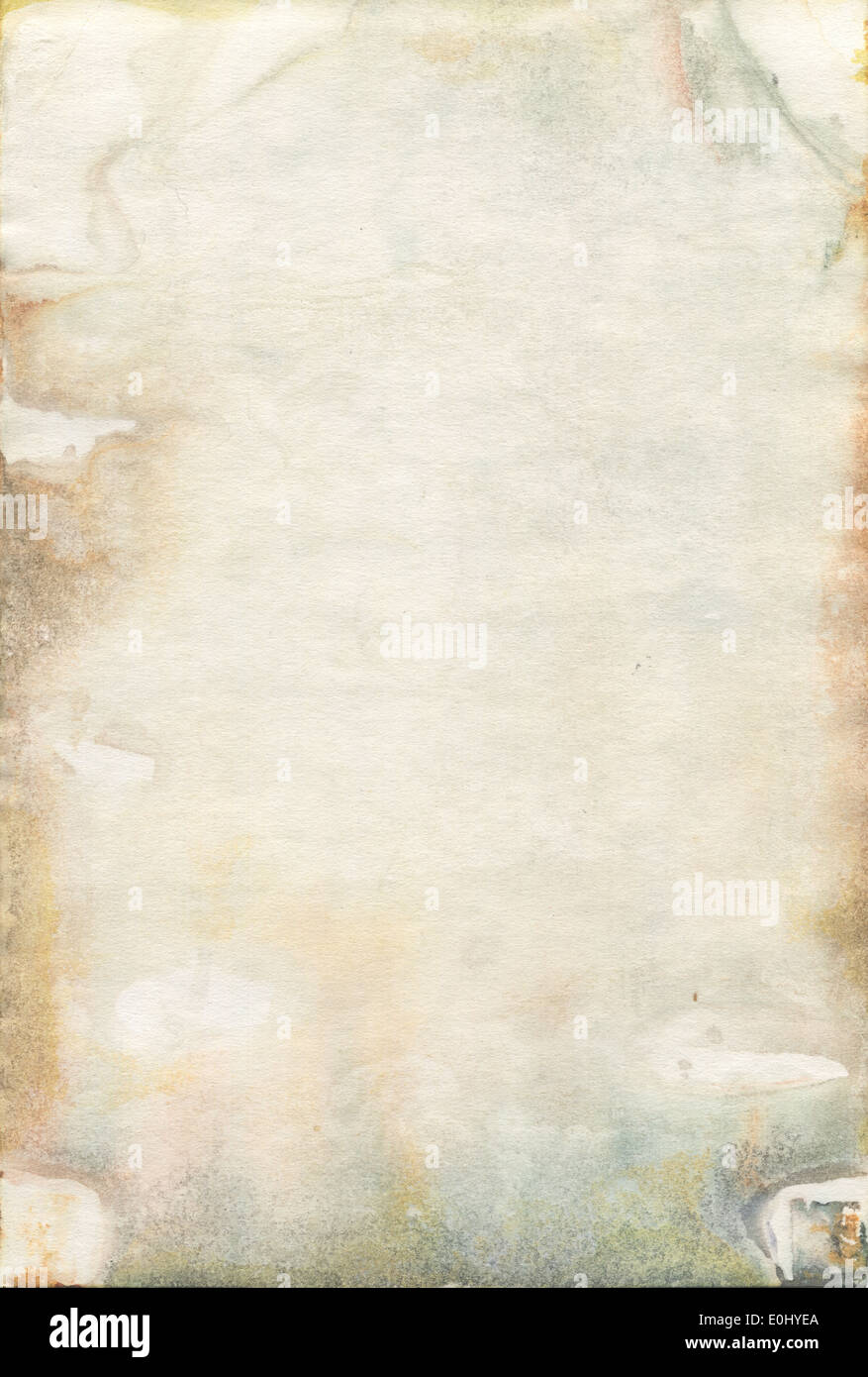 Moldy old watercolour paper texture - Stock Image