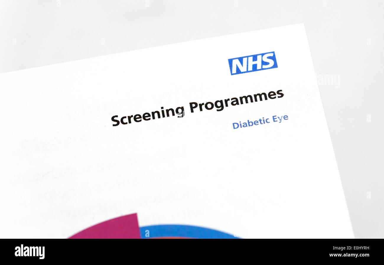 NHS diabetic eye screening programmes information leaflet - Stock Image