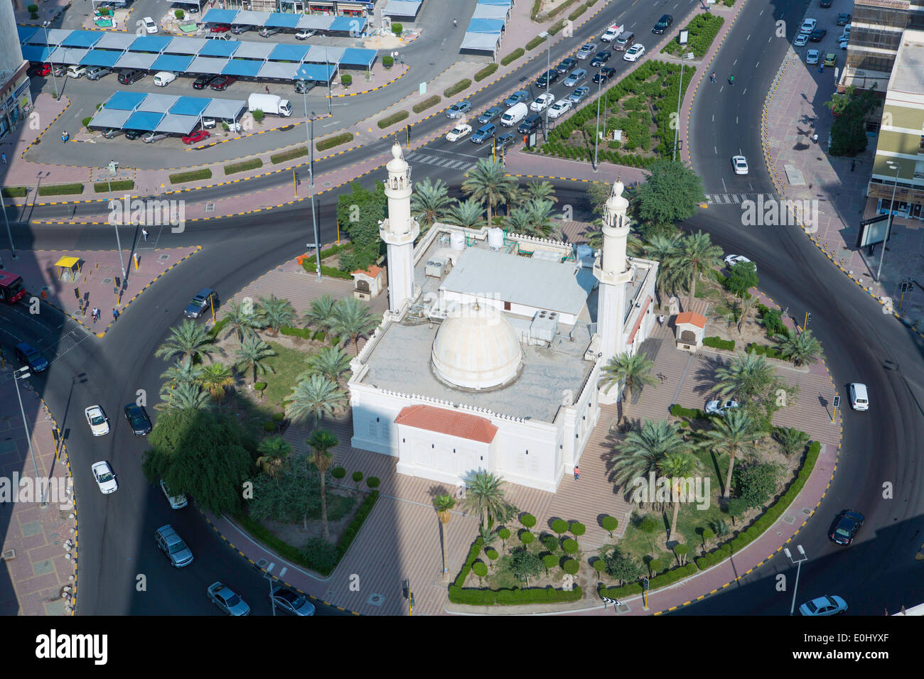 Arabian Peninsula, Kuwait, city centre Mosque, elevated view - Stock Image