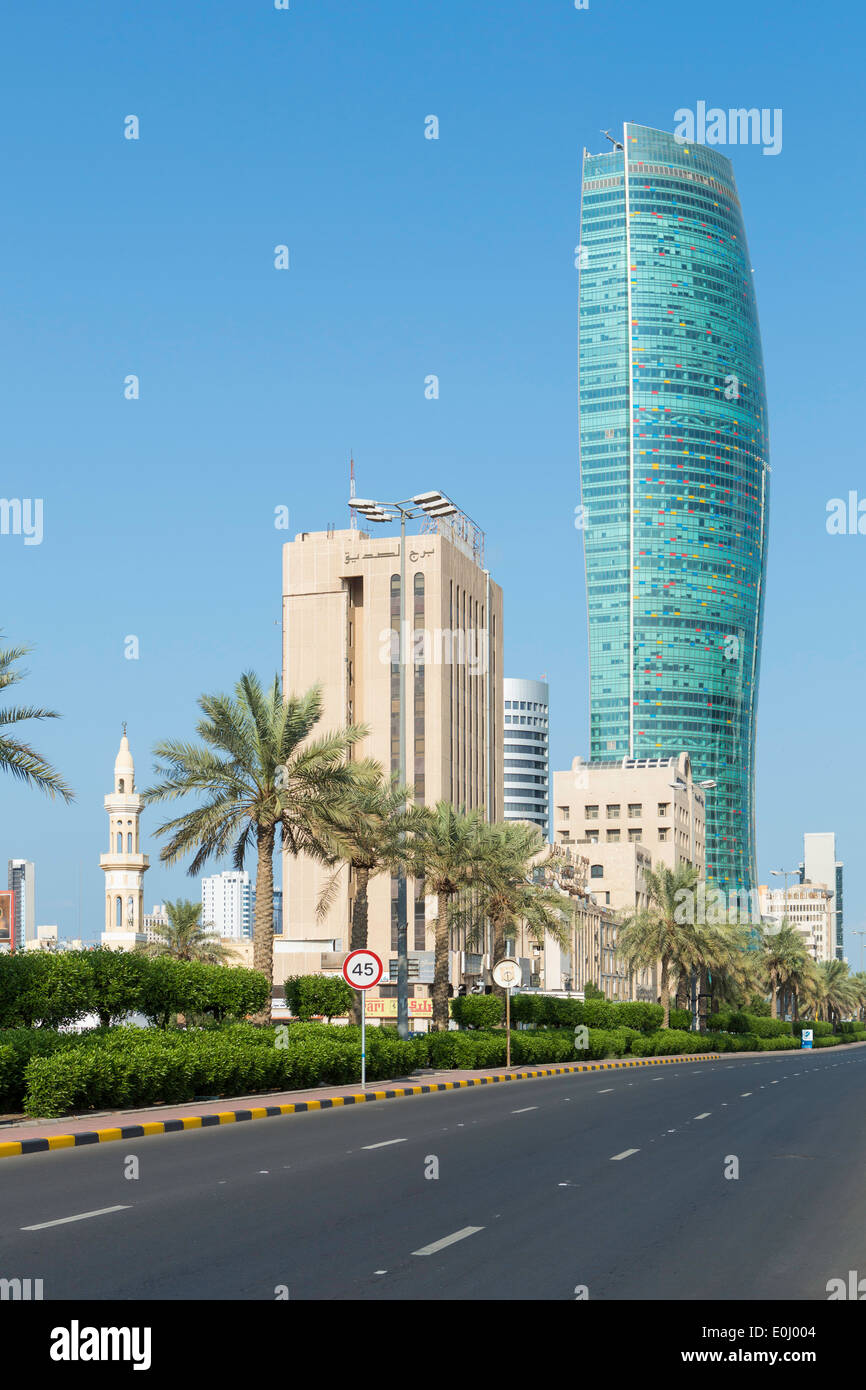 Kuwait City, modern city skyline and central business district - Stock Image