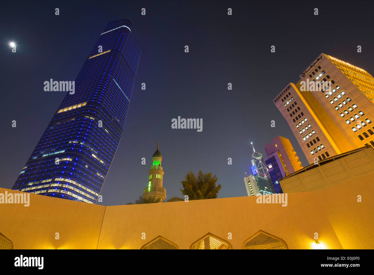 Kuwait City, city skyline including the Al Hamra building, low angle view - Stock Image