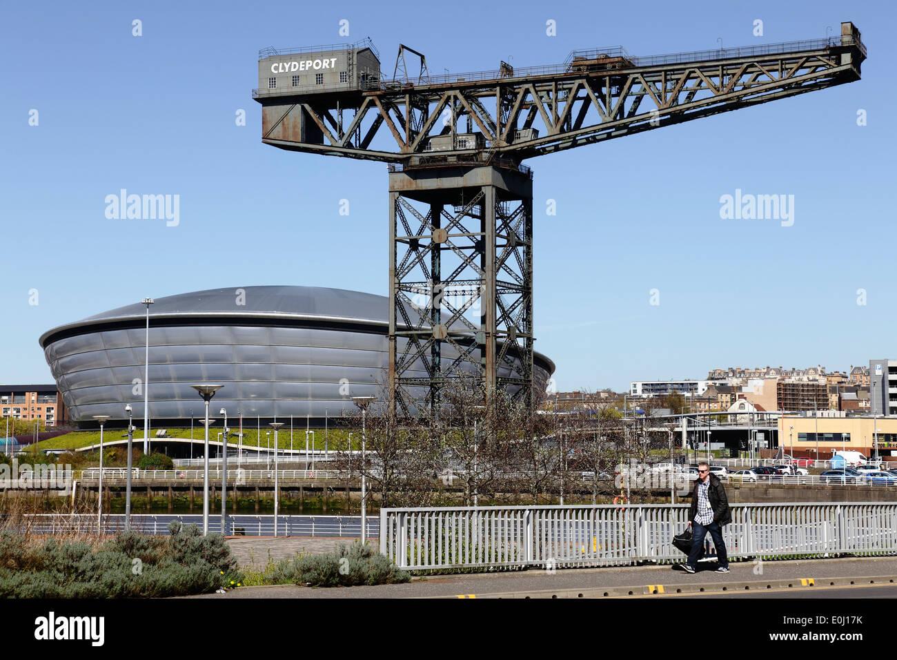 The Finnieston Crane and SSE Hydro building, Scotland, UK - Stock Image