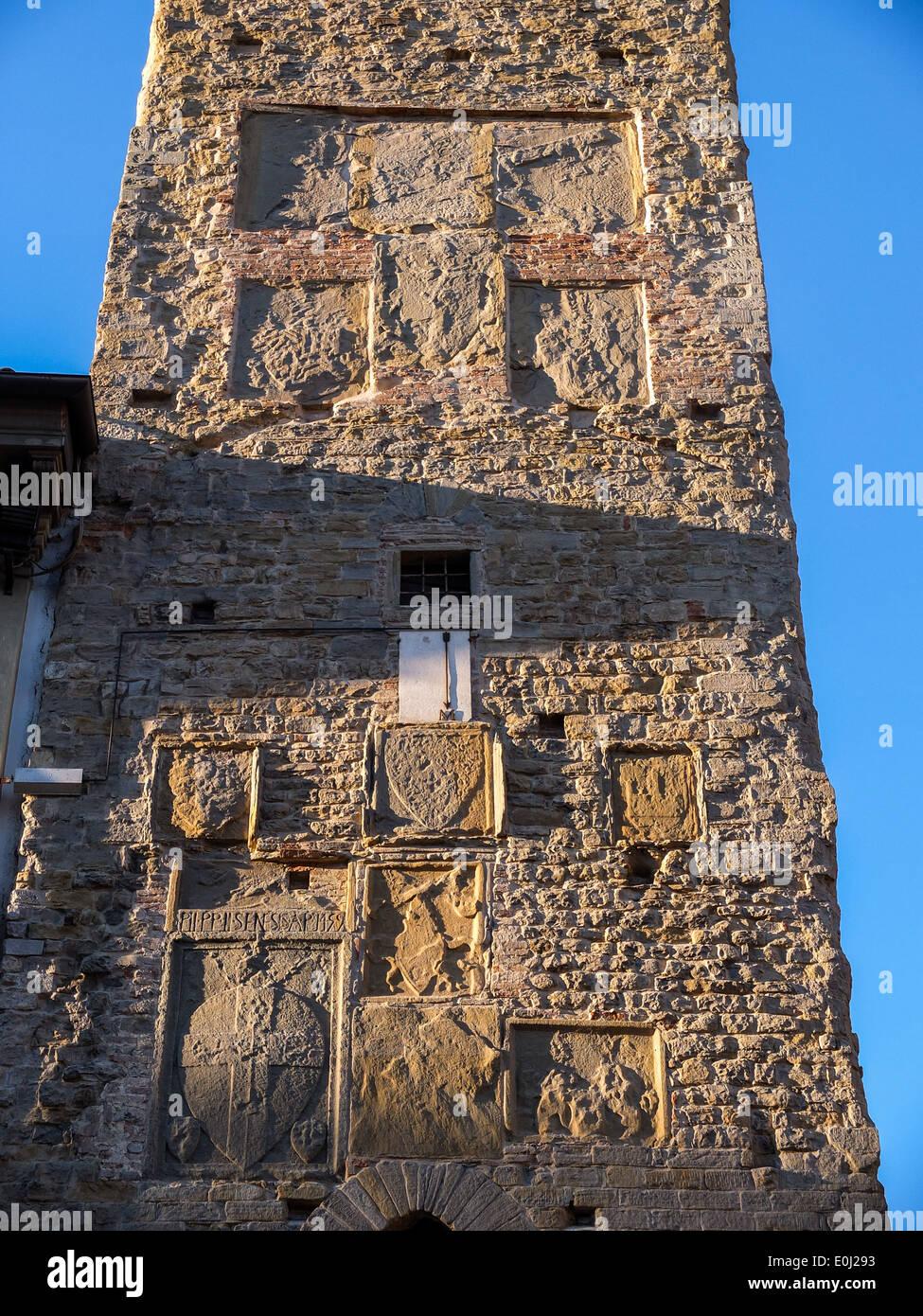 Città di Castello, Umbria, Italy: Torre Civica detail; coats of arms - Stock Image