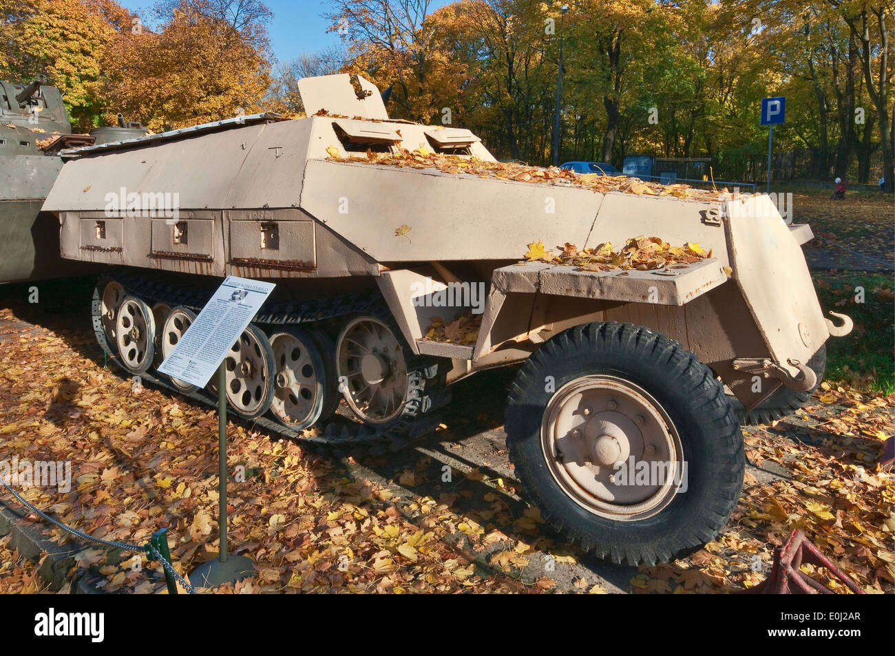 Sd.Kfz.251/1 AUSF.D, German WWII half-track armored personnel carrier, Polish Army Museum in Warsaw, Poland - Stock Image