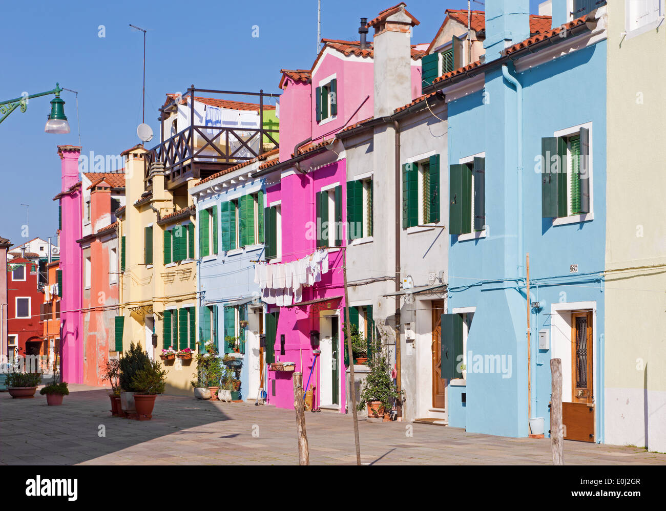 Venice - Houses and ailse from Burano island - Stock Image