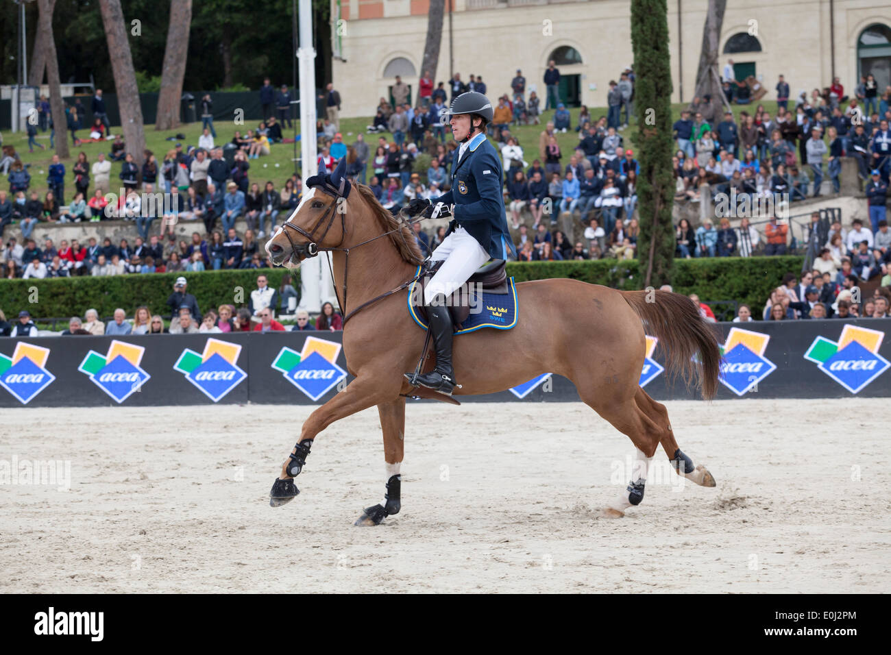 Peder Fredricson of Sweden competing in the Furusiyya FEI Nations Cup at the Piazza di Siena in Rome 2013 Stock Photo