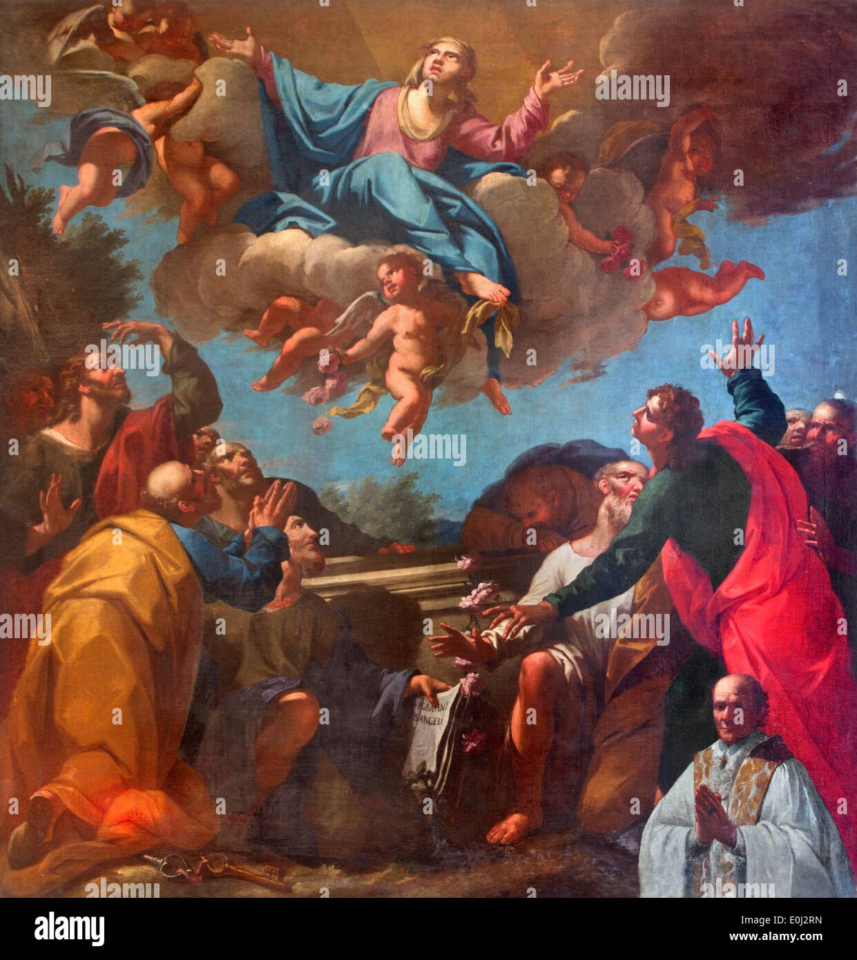 Venice - The Assumption of Virgin Mary paint by in church of San Martino or Saint Martin on Burano island - Stock Image