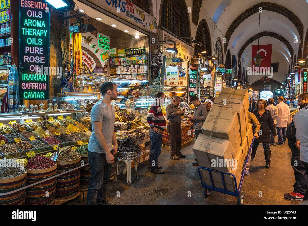 Interior of the Egyptian bazaar, AKA  spice bazaar, Eminonu, Istanbul, Turkey. - Stock Image