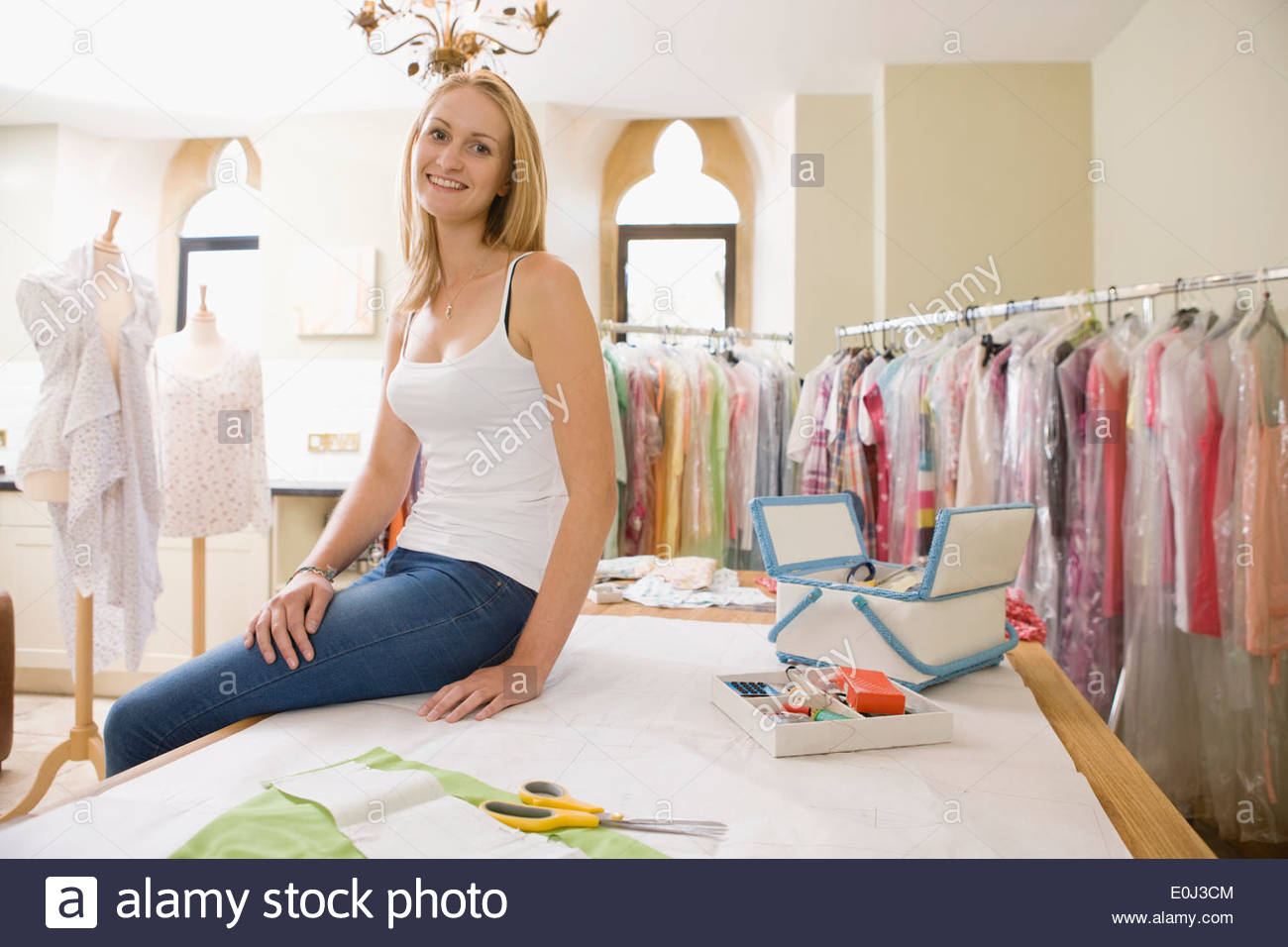 Portrait Of Fashion Designer In Design Studio - Stock Image