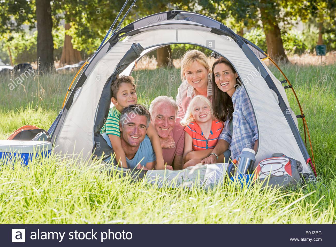 Multi-Generation Family Enjoying Camping Trip - Stock Image