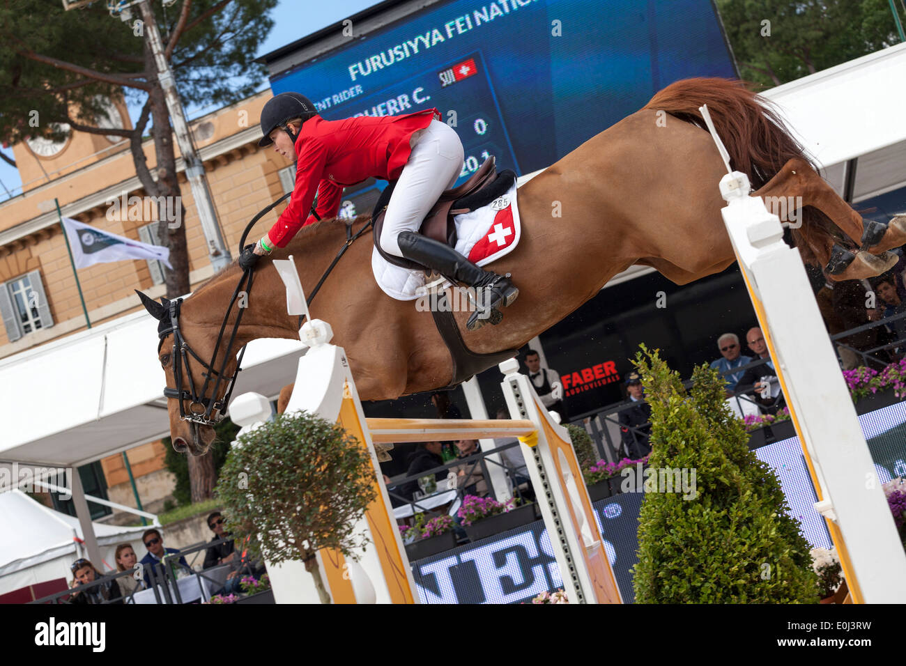 Christina Liebherr on LB Callas Sitte jumping in the Furusiyya Nations Cup in Piazza di Siena show jumping event in Rome 2013. - Stock Image
