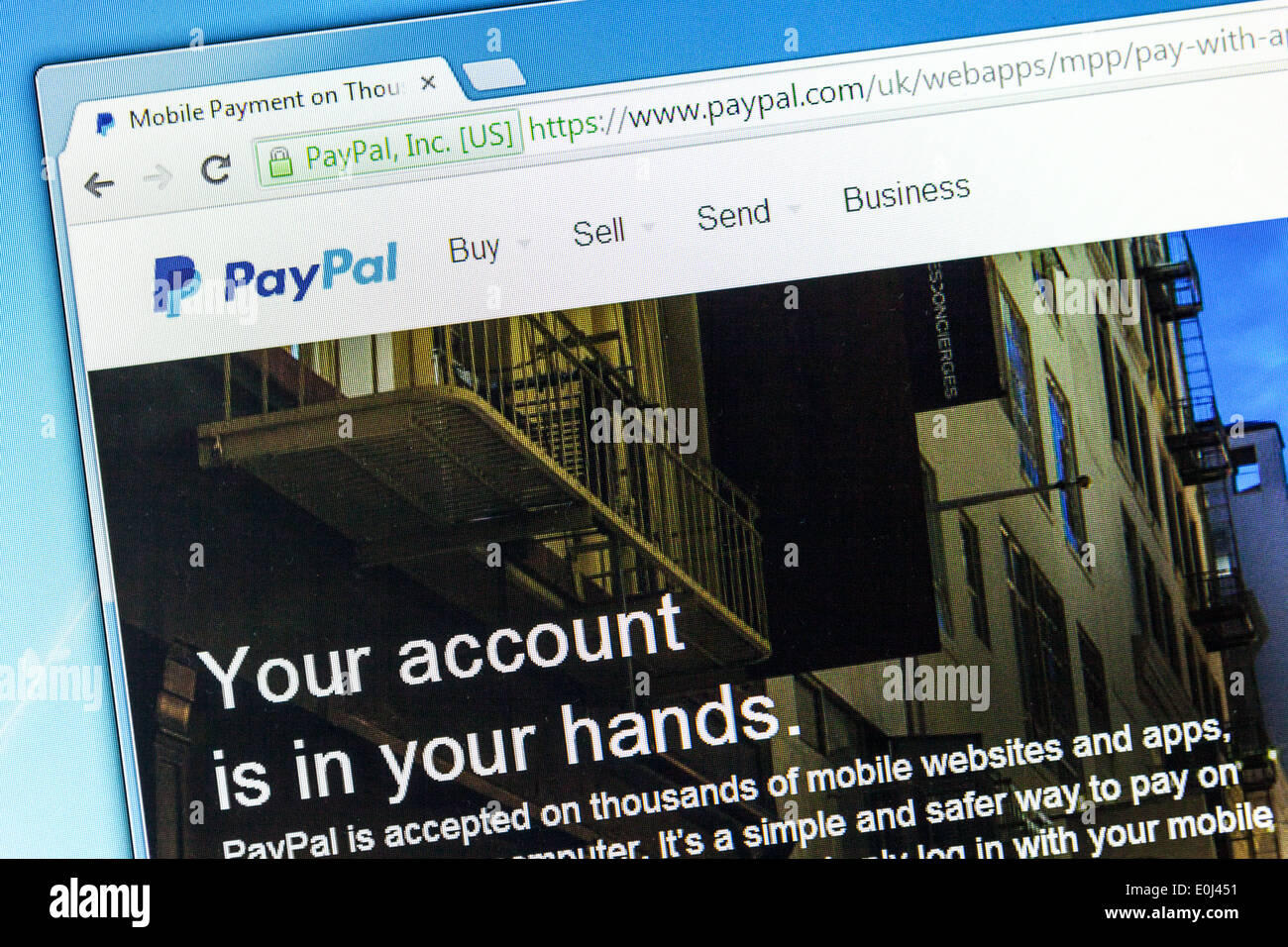 Closeup of Paypal web page after the company's rebranding in 2014, seen in Google Chrome browser on a PC monitor. - Stock Image