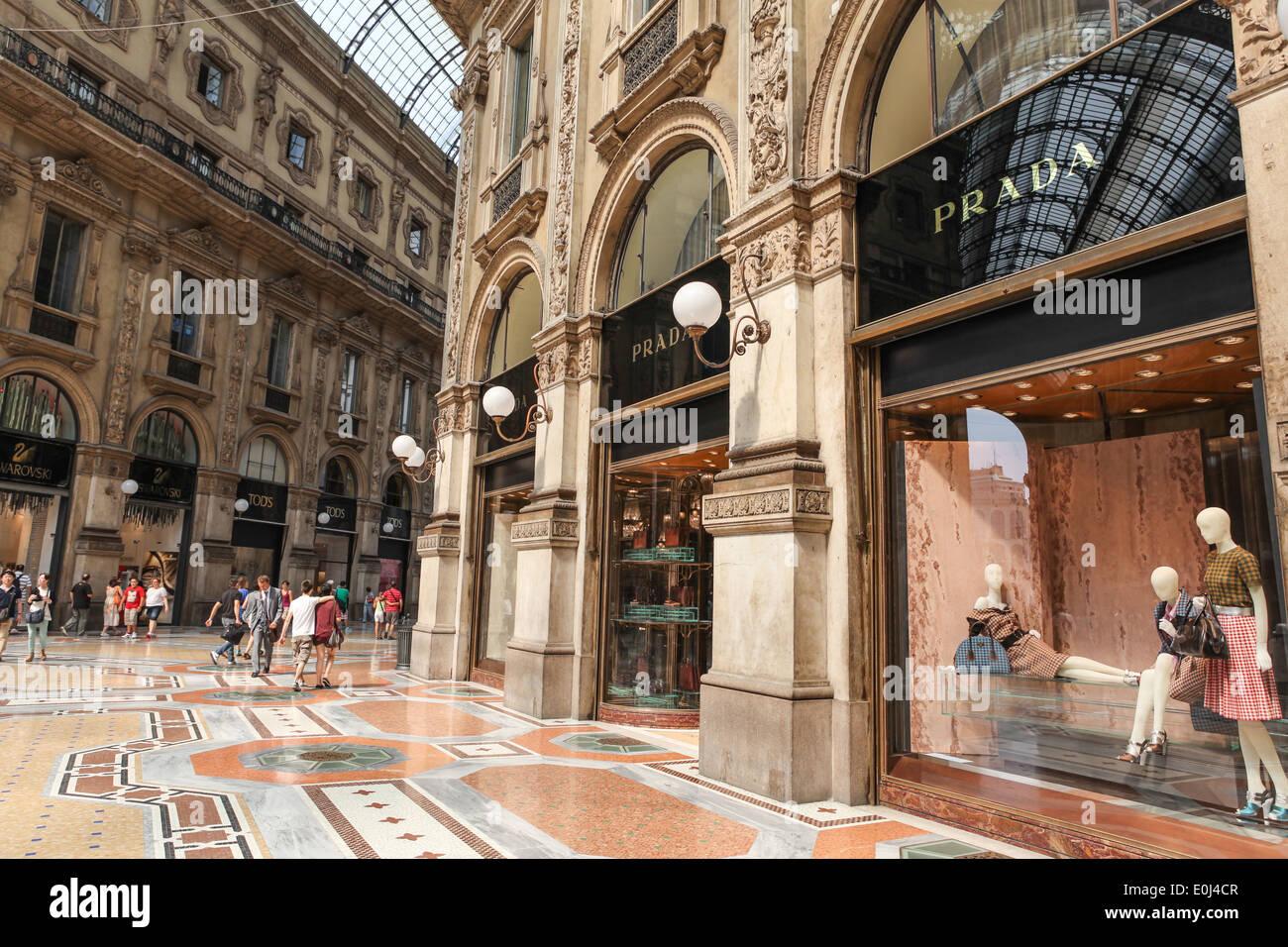 Prada Store In Galleria Vittorio Emanuele Ii Shopping Center In