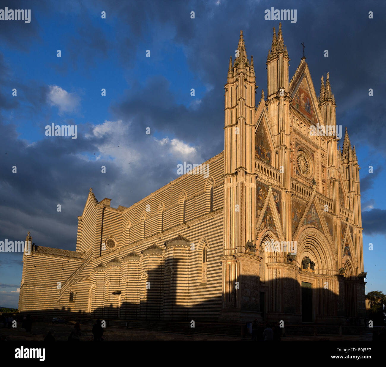 Overall view of the Cathedral of Orvieto, Umbria, Italy - Stock Image