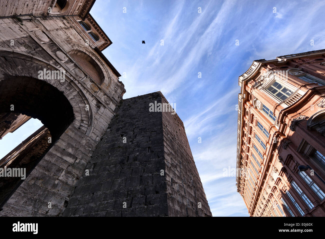 view Etruscan Arch and the University for Foreigners - Stock Image